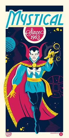 Doctor Strange and Ghost Rider, two of Marvel's most mysterious and frightening heroes, have been given a bright update in a new pair of posters by artist Dave Perillo and Grey Matter Art. Doctor Strange Poster, Doc Strange, Strange Tales, Strange Magic, Strange Art, Ghost Rider, Marvel Art, Marvel Comics, Marvel Heroes