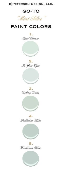 "Interior Paint Color and Color Palette Ideas Go To Mint Blue paint colors All Paint Colors are from ""Benjamin Moore""."