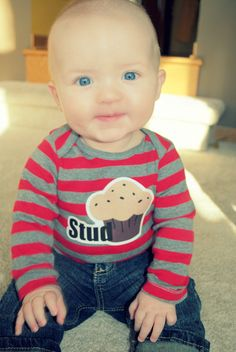 Adorable Stud Muffin Onesie, Long-Sleeve Striped Bodysuit, Cute Nickname for Baby Boy. $15.00, via Etsy.