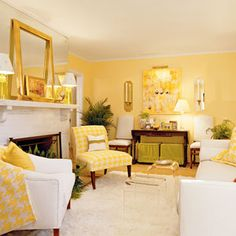 Decorate with Yellow | Make a classic print—like houndstooth check—modern by playing with the scale of the pattern and using it in a bright, cheery yellow. | SouthernLiving.com