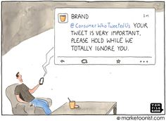 """Brand Conversations"" - new cartoon and post on the limits of one-way communication http://tomfishburne.com/2013/07/brand-conversations.html"