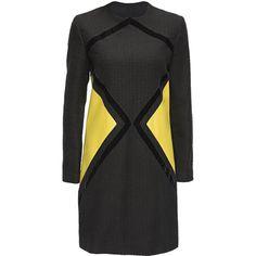 LATTORI Geometric Leather Insets Dress (33560 RSD) ❤ liked on Polyvore featuring dresses, black striped dress, black stripe dress, stripe dress, geometric print dress e waist dress
