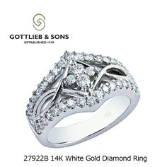 Get the #celebrity look! This 14K White Gold Diamond ring features a cluster of sparkling round #diamonds framed by rows of shared prong set round diamonds in a gorgeous #infinity twist design. Visit your local #GottliebandSons retailer and ask for style number 27922B. http://www.gottlieb-sons.com/product/detail/27922B