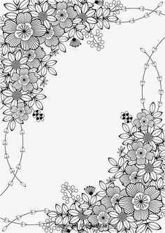 floral border kleurpboek coloring page book målarbok för vuxna pages Motif Floral, Floral Border, Coloring Book Pages, Coloring Sheets, Spring Coloring Pages, Flower Doodles, Printable Coloring, Free Coloring, Doodle Art