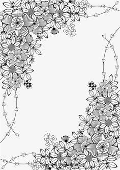floral border kleurpboek coloring page book målarbok för vuxna pages Motif Floral, Floral Border, Coloring Book Pages, Coloring Sheets, Spring Coloring Pages, Flower Coloring Pages, Flower Doodles, Printable Coloring, Free Coloring