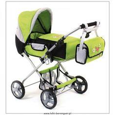 Zielony, Duży Wózek dla Lalki - Wielofunkcyjny, Głęboki wózek Bambina Bayer Chic 2000