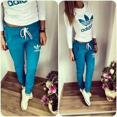 adidas outfit discovered by Melissa on We Heart It Sport Outfits, Casual Outfits, Girl Outfits, Cute Outfits, Outfits Gym, Fitness Outfits, Fashion Mode, Teen Fashion, Blue Fashion