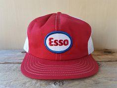 size 40 41e5c e2b55 ESSO Gas   Oil Service Station Vintage 80s Red Colored White Mesh Trucker  Snapback Hat Gasoline Oil Promo Victory Cap Canada Ballcap