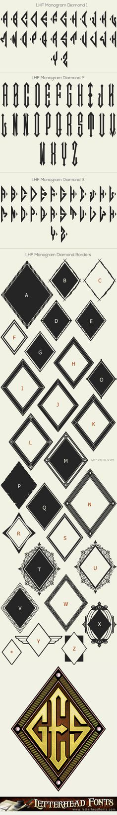 Letterhead Fonts / LHF Monogram Diamond font set / Monogram Fonts