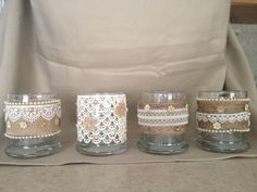 Burlap and Lace Embellished Glass Votive Holder by Partyinthebarn Rustic Chic, Country Chic, Tea Light Candles, Tea Lights, Glass Votive Holders, Lace Decor, Fireplace Mantle, Small Flowers, Tea Light Holder