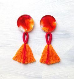 Aurora Moon with Handmade Tassel - Statement Earrings - tassel earring - button earring with tassel - Concrete Jellyfish by ConcreteJellyfishCo on Etsy