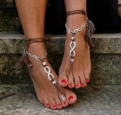 Brown and silver INFINITE BAREFOOT SANDALS with feathers foot jewelry hippie sandals crochet barefoot tribal sandal beach ethnic yoga gipsy