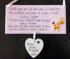 Personalised Childminder Nursery Leaving Thank You Plaque, D4, Playschool, Preschool, Babysitter, Teacher, Creche, Gift Sign *KKUK Exclusive
