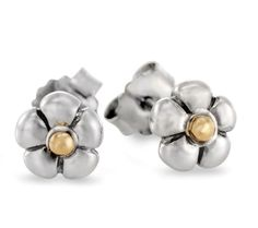 Pandora Silver and 14ct Gold Daisy Flower Head Stud Earrings £35.00
