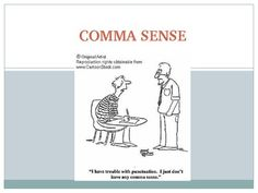 "A light-hearted comma review PowerPoint with seven boiled-down comma rules, examples, and ""comma relief"" jokes. The rules include introductory words and phrases, interrupters, dependent clauses, lists, side-by-side adjectives, and compound sentences."