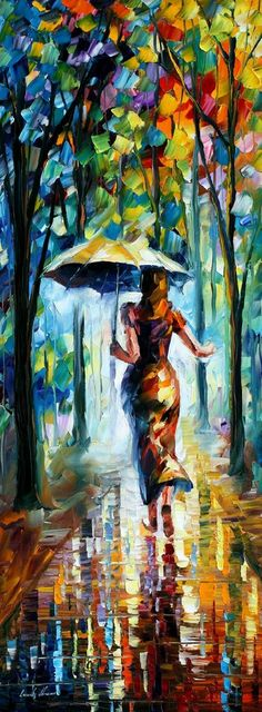RUNNING TOWARDS LOVE — PALETTE KNIFE Oil Painting On Canvas By Leonid Afremov - Who is she running to? Her lost love? How much further does she have to run? Will she make it? Is her make up running? Is it because of the rain or tears? Does she slip and fall? Does her love see her and pick her up?