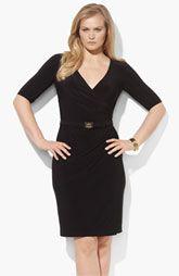 Lauren by Ralph Lauren Faux Wrap Jersey Sheath Dress (Plus)