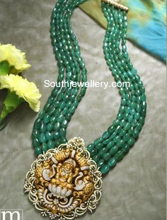Five line emerald beads mala with Goddess Lakshmi pendant studded with diamonds by Sri Mahalaxmi Jewellers & Pearls. Jewelry Design Earrings, Emerald Jewelry, Necklace Designs, Gold Jewelry, Emerald Necklace, Bead Jewellery, Diamond Jewellery, Baby Jewelry, Necklace Ideas