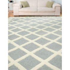 nuLOOM Hand-tufted Lattice Wool Grey Rug (8' 6 x 11' 6)