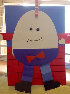 Nursery Rhymes - Humpty Dumpty Craft Nursery Rhyme Costume, Nursery Rhyme Crafts, Nursery Rhymes Preschool, Nursery Rhyme Theme, Fairy Tale Activities, Rhyming Activities, Preschool Activities, Preschool Learning, Daycare Crafts