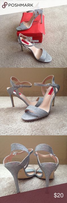 NWOT glitter heels Silver glitter ankle strap heels from London Rebel. Bought from ASOS to be a bridesmaid, found out they were too high for me to feel comfortable walking down a stone church aisle *without* eating you-know-what, switched to flats and therefore never worn! True to size 8.  ❤️ 15% off 2+ bundles in my closet ❤️ ASOS Shoes Heels