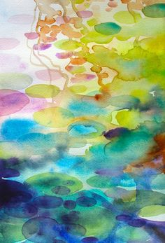 ARTFINDER: The Ornamental Pond 4 by Helen Wells - A abstracted watercolour painting of an ornamental pond in St Leonards on Sea. The piece describes the reflections on the water from the spring flowers, and ...