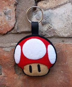 Super Mario felt mushroom keyring or ornament