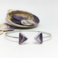 Your place to buy and sell all things handmade Handmade Sterling Silver, Sterling Silver Jewelry, Cuff Bracelets, Bangles, Triangle Shape, Buy And Sell, Gems, Band, Stuff To Buy