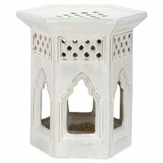 Indoor/outdoor Ceramic Garden Stool With A Pagoda Inspired Design And White  Finish.