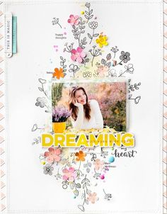 Hey everyone, Bea here today to share two layouts I made featuring the amazing Pinkfresh Studio stamps. First, I wanted to show you an easy way that you can create a fun texture on the background of your layout.    To make this background I picked out some pretty floral stamps and started to stamp around the center of my page. I used StazOn solvent ink pad, because I wanted to paint with watercolor on the stamped images.     I punched some tiny flowers from some Dream On patterned paper…