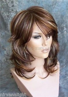 3Tone Deep Auburn/Copper/Blonde Multi layers Med/Long Nirvana Sarah Wig