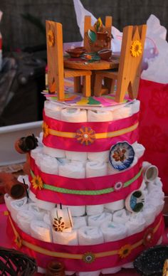 Not made by me but lovely nonetheless - Mexican toys on diaper cake - My Fiesta Baby Shower