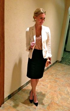 One of the most versatile items you can have in your closet is a black pencil skirt.  Almost any dressy occasion-- wedding, shower, dinner party, work function, luncheon, anniversary and, last but not least, a cocktail party.  I've worn a black top tucked in with a thick black belt to give the illusion of a dress.  It's like an ever-changing cocktail dress!