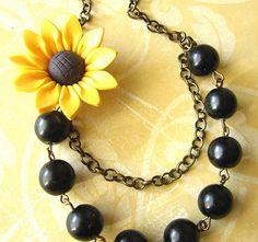 Sunflower Necklace Sunflower Jewelry Black Pearl by zafirenia, $31.00