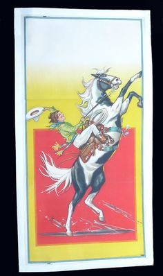 Rare, vividly colorful stone lithograph showing marvelous action of a cowgirl on a rearing horse.  The poster was intended to have rodeo inf...