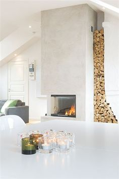-the open side is interesting Beach Fireplace, Fireplace Remodel, Fireplace Mantle, Fireplace Design, Classic Fireplace, Modern Fireplace, Mantle Styling, Basement Inspiration, Fire Places