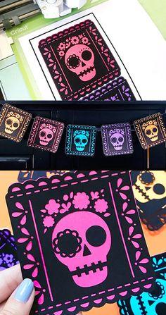 Dia de Muertos decor free cut file by Jen Goode. A festive Cricut project perfect for Halloween decorations or a shirt!