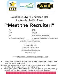 """""""Meet the Recruiter"""" - Joint Base Meyer-Henderson Hall - September 12, 2013 http://military-civilian.blogspot.com/2013/09/meet-recruiter-joint-base-meyer.html"""