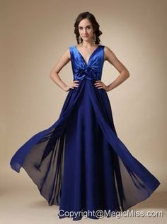 Royal Blue Empire V-neck Floor-length Satin and Chiffon Hand Made Flower Prom / Evening Dress