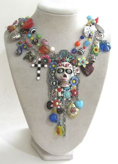 Shop for on Etsy, the place to express your creativity through the buying and selling of handmade and vintage goods. Halloween Schmuck, Halloween Jewelry, Jewelry Crafts, Jewelry Art, Jewlery, Handmade Necklaces, Handmade Jewelry, Sugar Skull Jewelry, Weird Jewelry