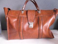 Vintage XL brown skai leather bag weekender by MORETHANVINTAGENL, $40,00