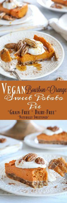 Vegan Bourbon Orange Sweet Potato Pie - grain-free dairy-free refined sugar-free and almost paleo Quick Healthy Desserts, Vegan Desserts, Just Desserts, Vegan Recipes, Chickpea Recipes, Potato Pie, Sweet Potato, Mason Jar Pies, Grain Free