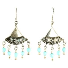 Sterling Silver Beaded Fan Earrings #huntersalley