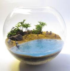 44 Stunning Diy Terrariums Design Ideas If you make a cool terrariums plant, there are a number of elements that are necessary for the buy, and other things that you can do. Receive a bookshelf you prefer and place in all your favourite … Terrarium Scene, Air Plant Terrarium, Garden Terrarium, Glass Garden, Miniature Terrarium, Miniature Fairy Gardens, Micro Garden, Paludarium, Cool Plants