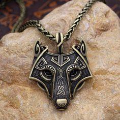 Wolf Head Viking Pendant - Metal Chain