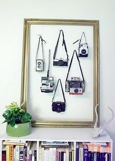 Cameras hung inside a frame for wall art... this is cool