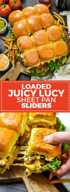 Loaded Juicy Lucy Sheet Pan Sliders. The tastiest way to party-foodify bacon burgers! Video included. | hostthetoast.com Slider Recipes, Sandwich Recipes, Appetizer Recipes, Dinner Recipes, Sandwich Ideas, Sandwich Bar, Sandwich Spread, Meat Appetizers, Lunch Recipes