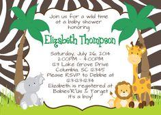 dschungel baby tier dusche einladung - safari-baby-dusche, Einladung