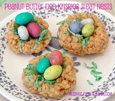 Peanut Butter Rice Krispies Treat Nests recipe - perfect Easter treat for kids! (with livingwellmom.com)