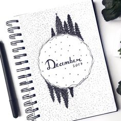 Bullet journal monthly cover page,  December cover page,  forest drawing.  @doodleandbujo